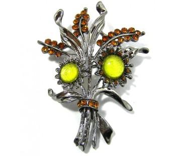 Kleiderbrosche - Sonnenblumenstrauß
