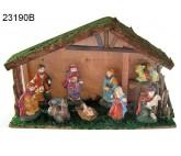 Weihnachtskrippe, - Heiligen Familie mit Jesuskind im Stall - 23190B