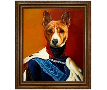 Basenji Hund im Anzug - handgemaltes Ölbild in 50x60cm