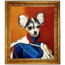 Chihuahua Hund im Anzug - handgemaltes Ölbild in 50x60cm