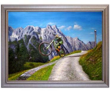 Downhill-Leogang - handgemaltes Ölbild in 60x80cm
