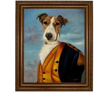 Foxterrier Hund im Anzug - handgemaltes Ölbild in 50x60cm