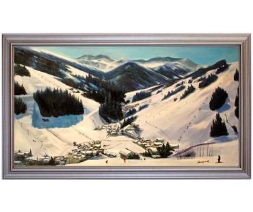 Hinterglemm mit Blick auf die Zwölferkogelbahn - handgemaltes Ölbild in 50x90cm