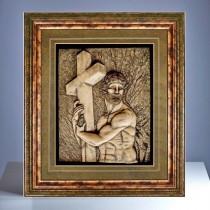 Reliefbild - Jesus mit Kreuz