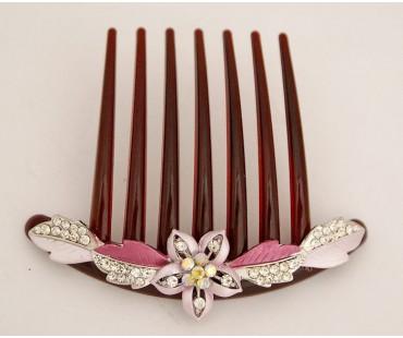 Haarkamm - Kirschblüte-Weinrot