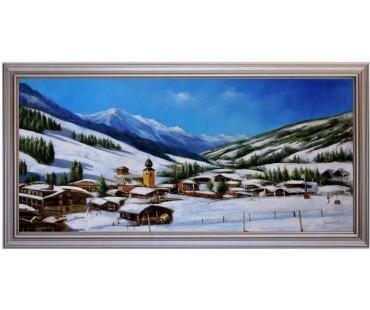 Ölbild Saalbach Hinterglemm Winterlandschaft Ölgemälde HANDGEMALT 50x110cm