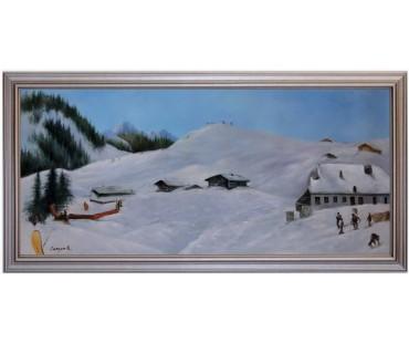 Ölbild Loferer Almen Winterlandschaft Ölgemälde HANDGEMALT 50x110cm