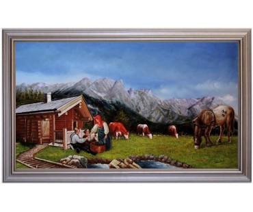 Ölbild Kühe Pferde Saalfelden Berglandschaft Ölgemälde HANDGEMALT 60x100cm