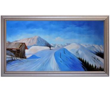 Asitz-Leogang im Winter - handgemaltes Ölbild in 60x120cm