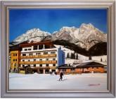 Asitzstubn Hotel Bacher Saalbach Leoganger Steinberge HANDGEMALT 50x60cm