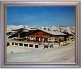 Berggasthaus Bergstadl Saalbach Hinterglemm Westgipfel HANDGEMALT 50x60cm