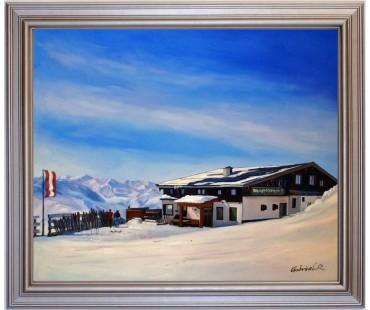 Westgipfelhütte Saalbach Hinterglemm Westgipfel HANDGEMALT 50x60cm