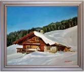 Asitz-Leogang im Winter - handgemaltes Ölbild in 50x100cm