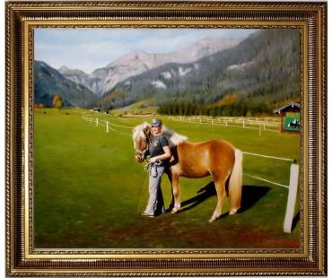 Pferd mit Reiterin HANDGEMALT 50x60cm