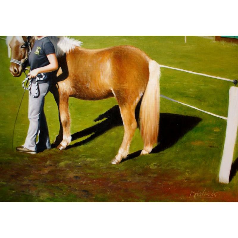 pferd mit reiterin handgemalt