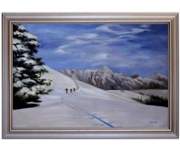 Ölbild Skitour am Asitz Winterlandschaft Ölgemälde HANDGEMALT 60x90cm