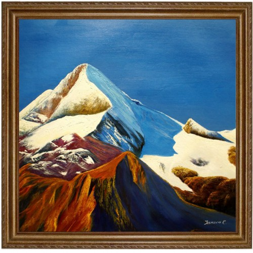 Ölbild Kitzsteinhorn in Kaprun, Bergspitze Gletscher HANDGEMALT 60x60cm